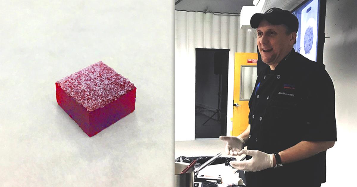 photo of Tomric chef making raspberry pate de fruit